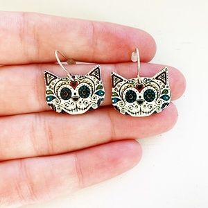 Claire's Jewelry - Chic sugar skull cat face drop earrings